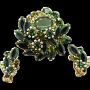 Vintage Juliana Two Toned Green Black Navette Rhinestone Brooch Earrings Demi Parure