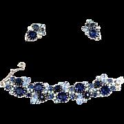 Vintage Juliana Book Piece Blue AB Rhinestone Multi-Prong Bracelet Earrings Demi Parure