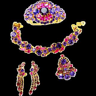 Vintage Juliana Fuchsia Pink, Cardinal (purple), Amethyst Rhinestone Brooch, Dangle Earrings, Clamper Bracelet Parure