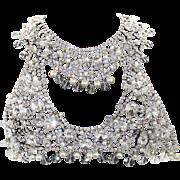 Huge Vintage Juliana for Kenneth Jay Lane (KJL) Clear Rivoli Rhinestone Crystal Bead and Faux Pearl Bib Necklace