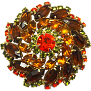 Vintage Juliana Fall Colored Topaz, Orange, Olivine Green Rhinestone Pin Wheel Brooch