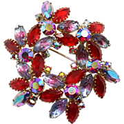 Vintage Ruby Red and Lavender to Purple to Pink Givre Molded Rhinestone Wreath Brooch