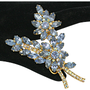 Vintage Juliana Blue Rhinestone Flower Stem Brooch