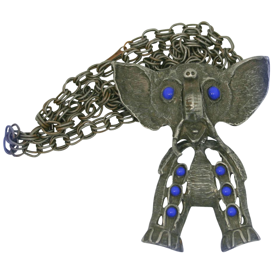 Vintage Juliana (D&E) Book Piece Blue Cabochons Elephant Pendant Necklace