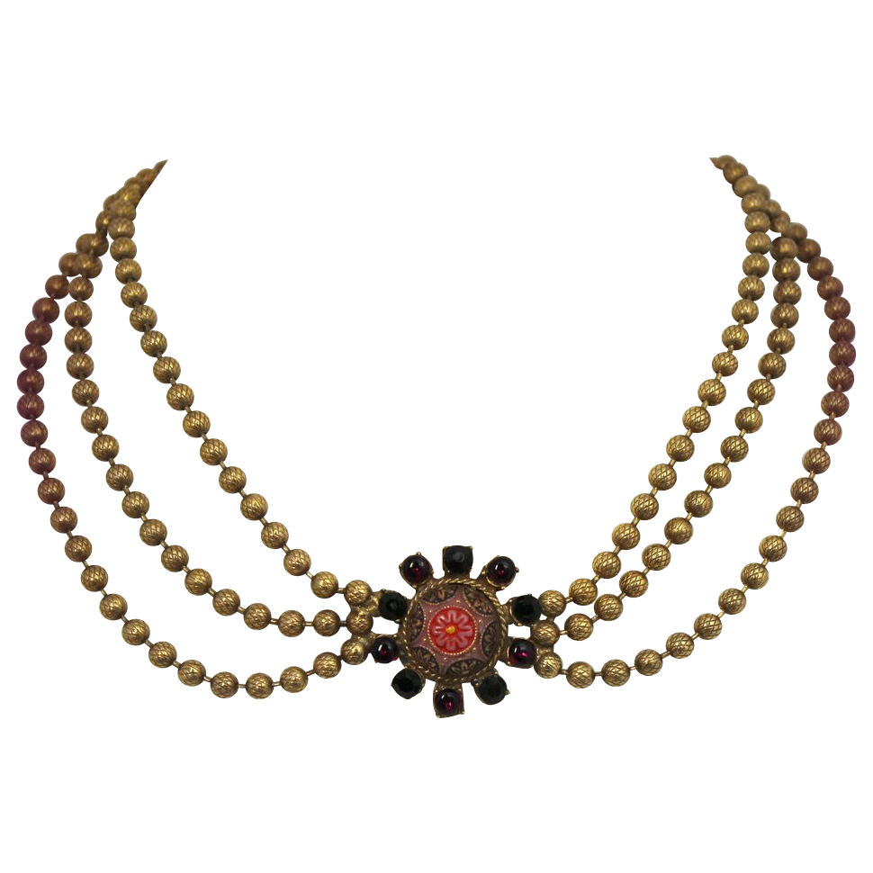 Vintage Juliana (D&E) Book Piece Moroccan Matrix Ball Chain Necklace