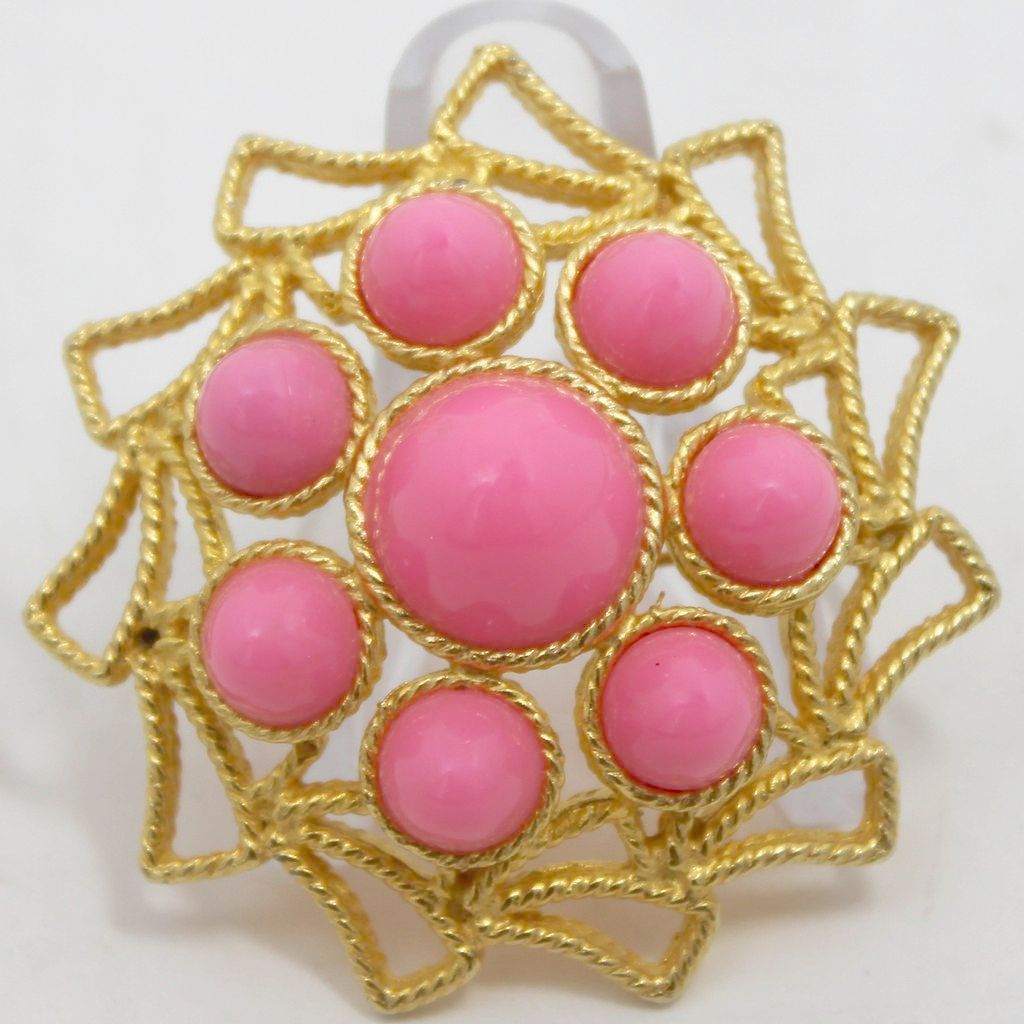 Vintage Juliana (D&E) Book Piece Pink High Domed Cabochon Brooch
