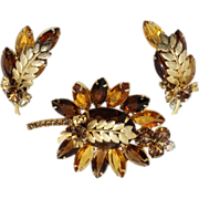 Vintage Juliana (D&E) Book Piece Topaz Rhinestone & Metal Leaf Demi Parure