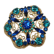 Vintage Juliana (D&E) Book Piece Blue & Teal Rhinestone Heart Scrollwork Brooch