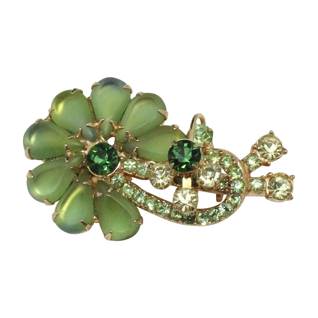 Vintage Juliana Book Piece Frosted Green, Blue Edged Pear Rhinestone Brooch