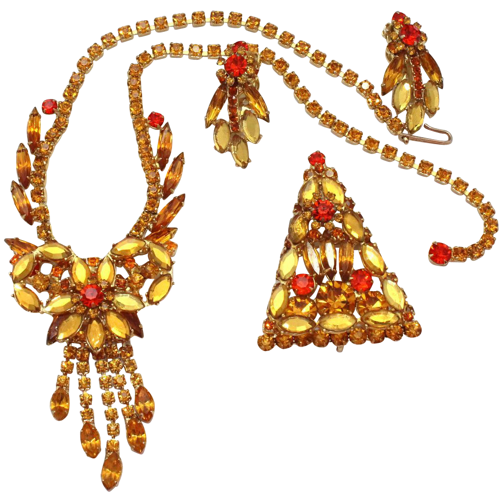 Vintage Juliana (D&E) Book Piece Topaz & Orange Rhinestone Parure