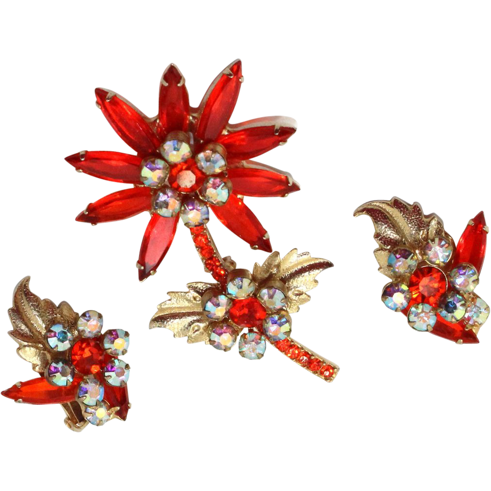 Vintage Juliana (D and E) Book Piece Orange (sun) and AB Rhinestone Flower with Metal Leaves Brooch and Earrings Demi Parure