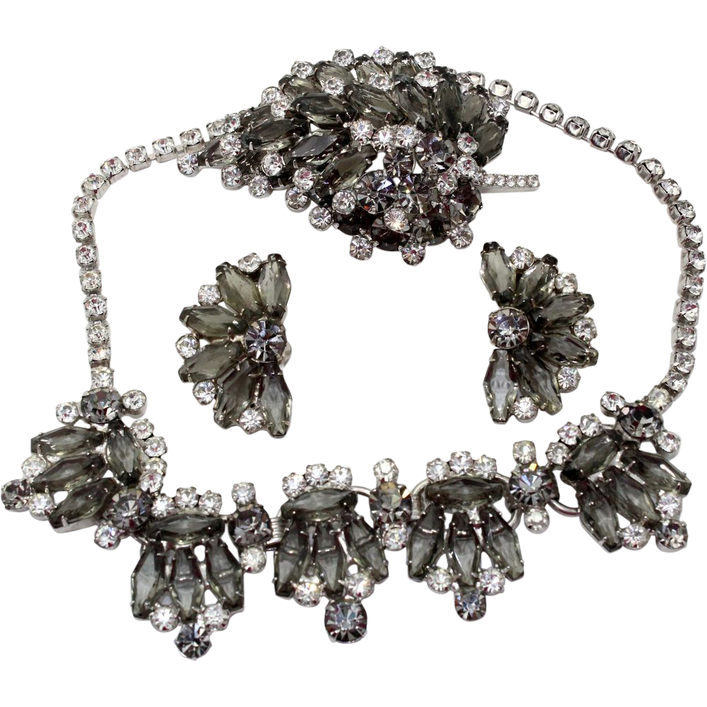 Vintage Juliana (D and E) Book Piece Gray Hexagon and Clear Rhinestone Necklace, Brooch and Earrings Parure