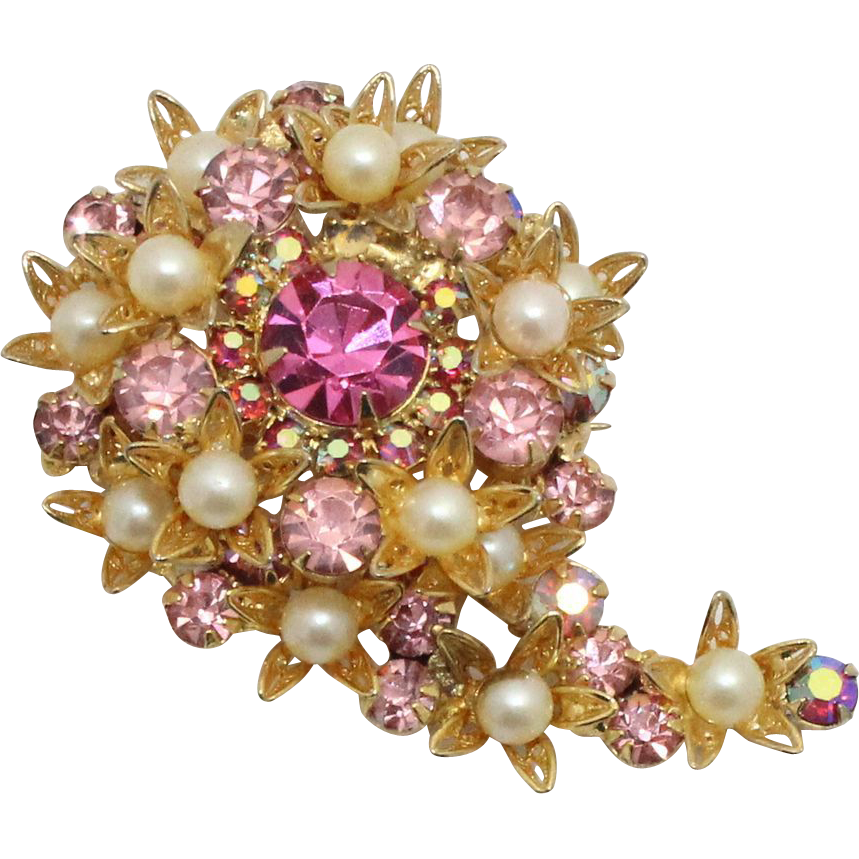 Vintage Juliana (D&E) Faux Pearl, Pink Rhinestone Filigree Flower Swirl Brooch