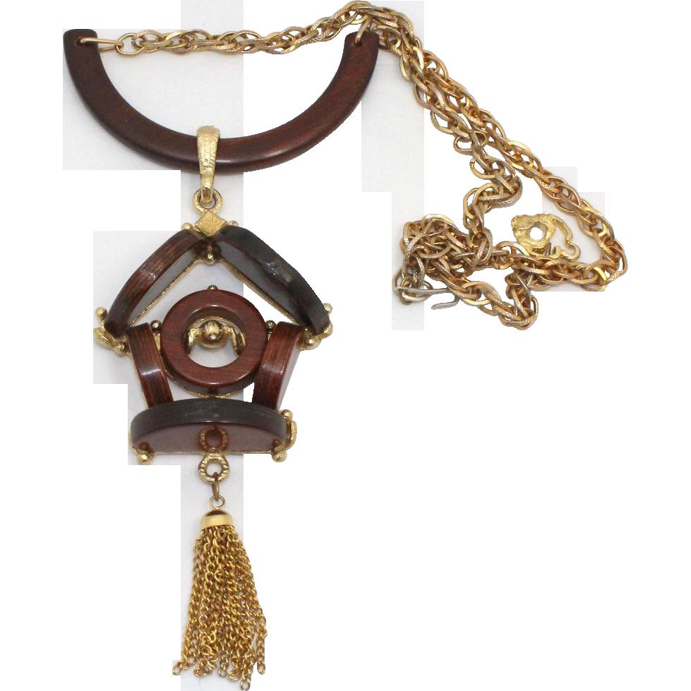 Vintage Juliana (D&E) RARE Book Piece Wooden Cuckoo Clock Necklace
