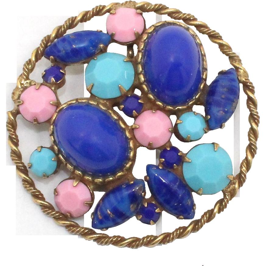 Vintage Juliana (D&E) faux Lapis, turquoise, & pink Cabochon Pendant / Brooch