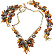 Vintage Juliana (D and E) Book Piece Topaz Rhinestone and Scooped Hematite Necklace, Bracelet and Brooch Parure