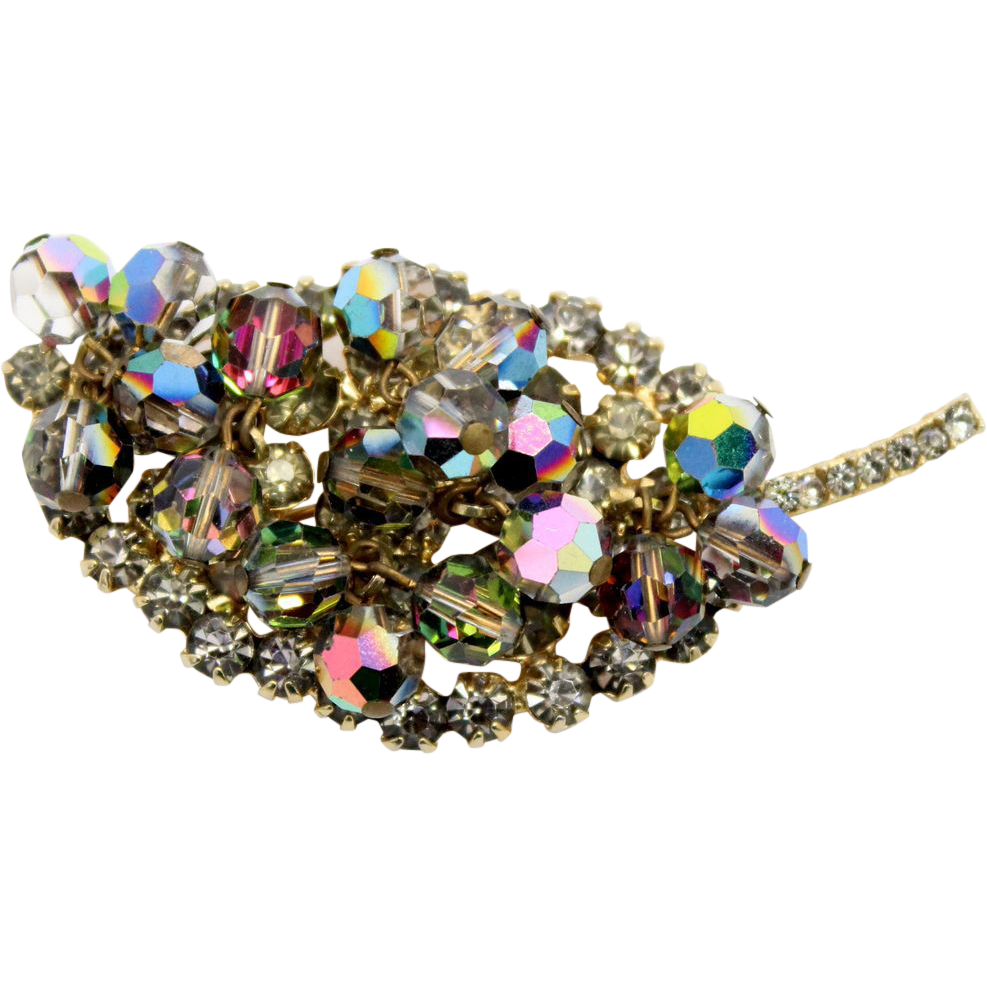 Vintage Juliana (D&E) Gray & AB Rhinestone & Crystal Bead Brooch