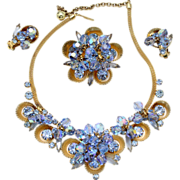 Vintage Juliana (D and E) Book Piece Blue Crystal Bead, Rhinestone and Half Cup Necklace, Brooch and Earrings Parure