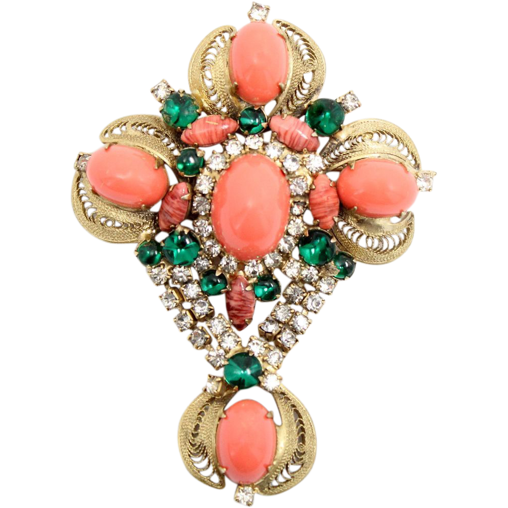Vintage Juliana (D&E) Coral High Domed & Green Glass Cabochon Cross Brooch