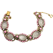 Vintage Juliana (D&E) NEW FIND Pink Rhinestone Intaglio Cameo Bracelet