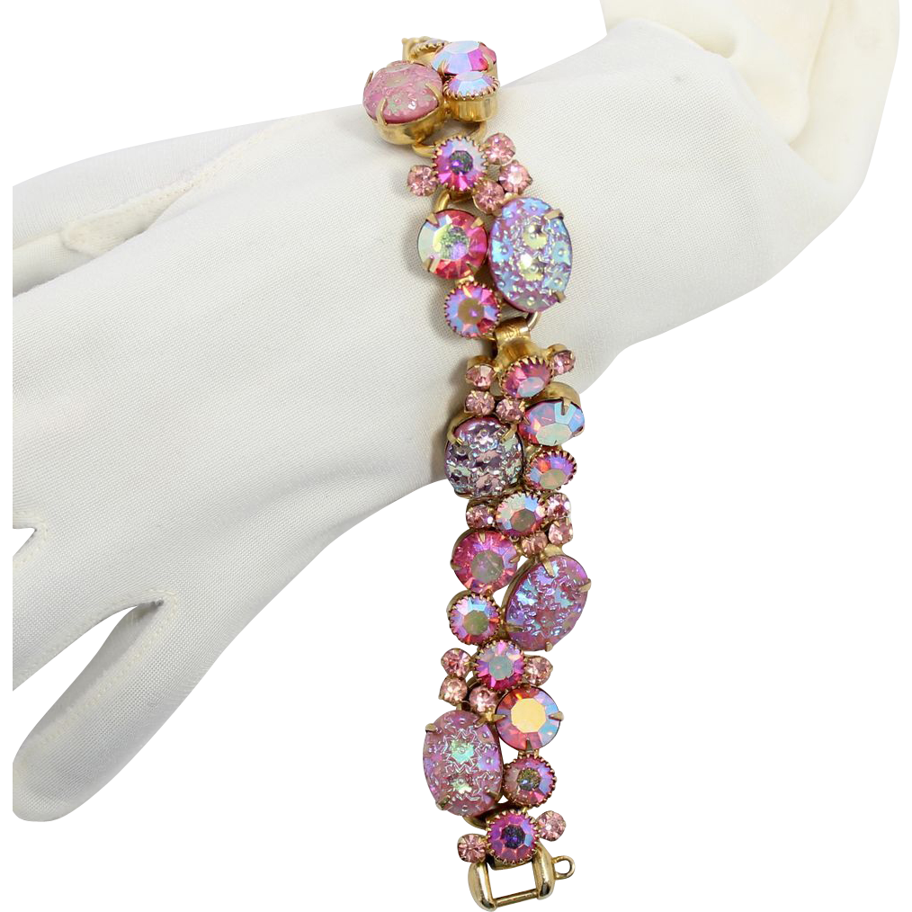 Vintage Juliana (D&E) Book Piece Pink Rhinestone Floral Pressed Glass & Rhinestone Bracelet