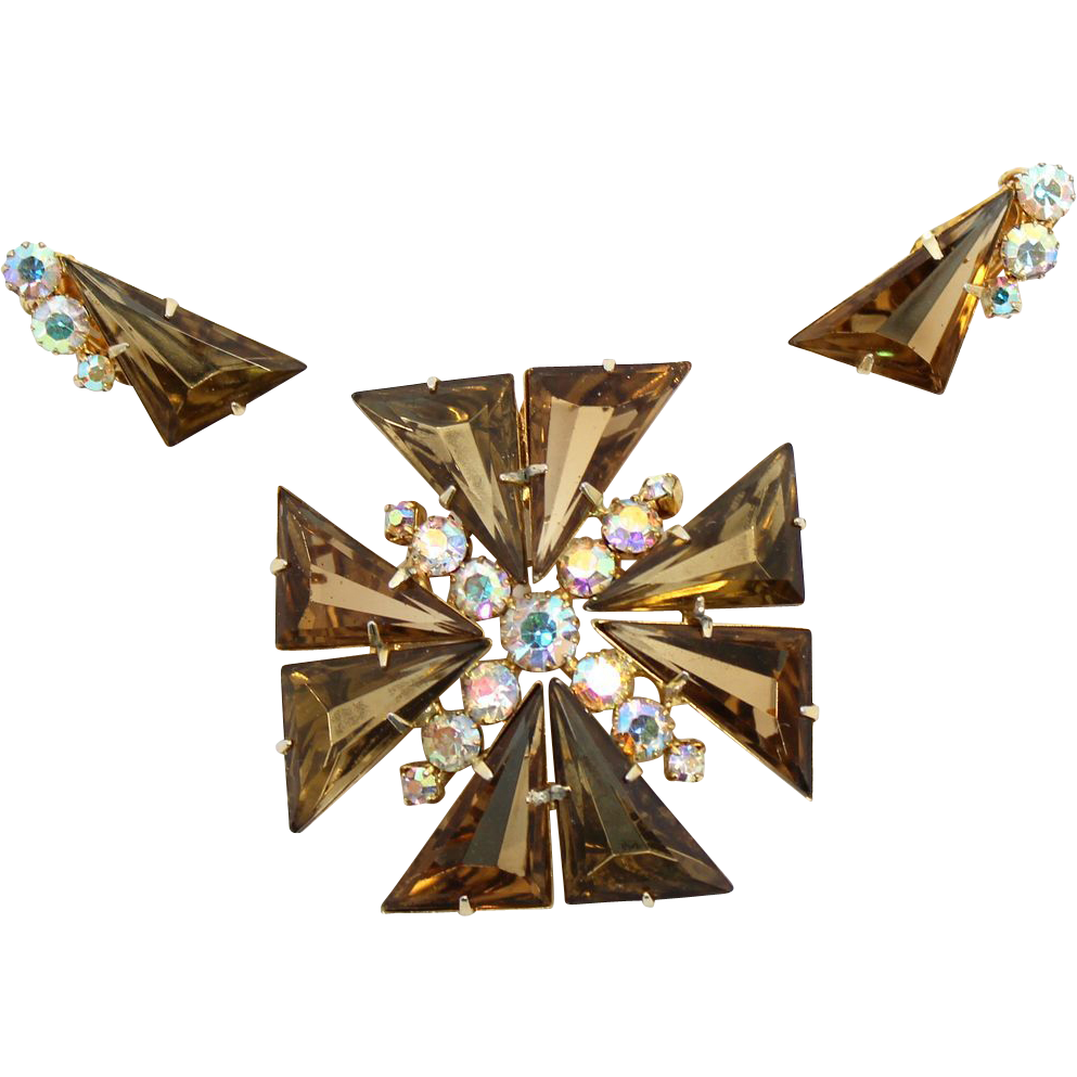 Vintage Juliana Smoky Topaz Rhinestone Maltese Cross Brooch / Pendant Earrings Demi Parure