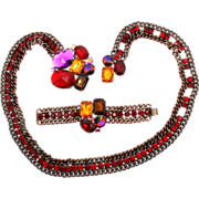 Vintage Juliana (D and E) Book Piece Volcano Rivoli and Red, Purple and Topaz Rhinestone and Chain Belt or Necklace  and Bracelet Demi Parure