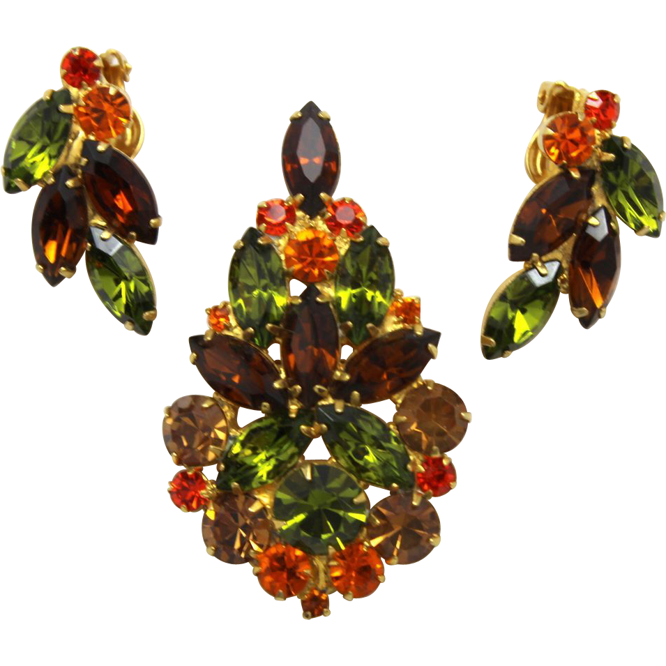 Vintage Juliana (D and E) Fall Colored Topaz, olivine green, orange (sun) Rhinestone Brooch / Pendant Necklace and Earrings Demi Parure