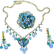 Vintage Juliana Book Piece Aqua Blue Teal Rhinestone Crystal Bead Necklace, Brooch and Dangle Earrings Parure