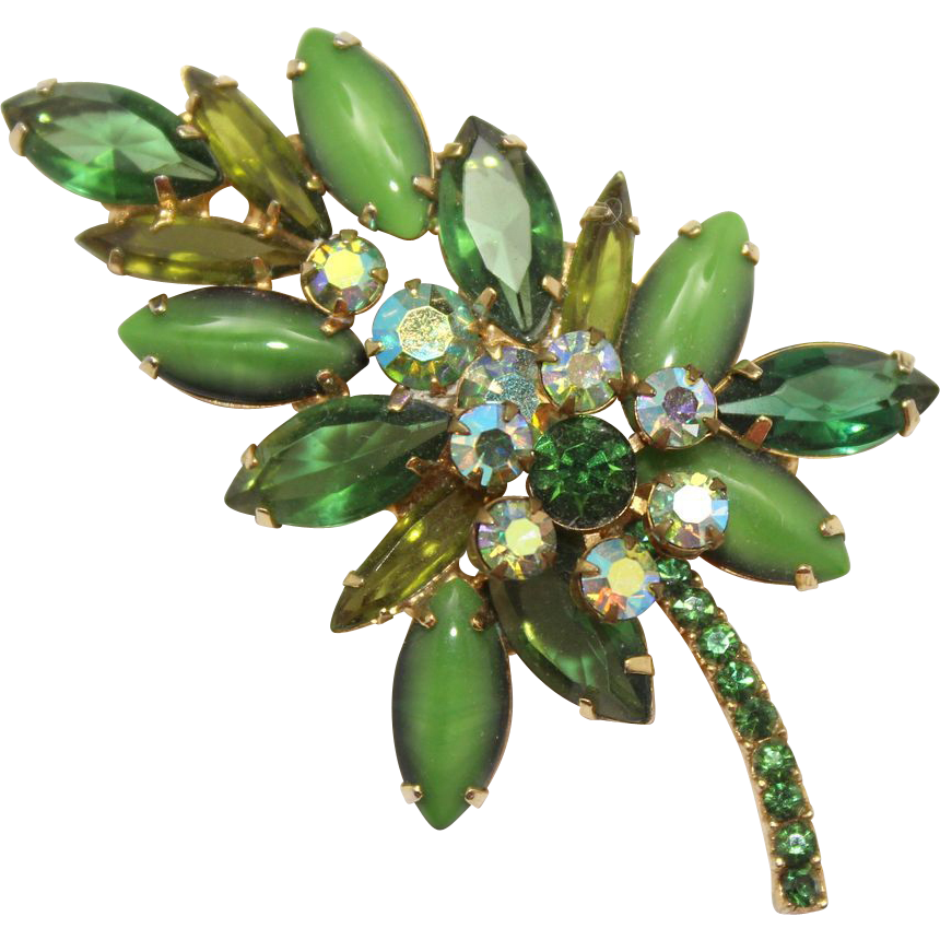 Vintage Juliana (D&E) Green Rhinestone & Moonstone Leaf Shaped Brooch
