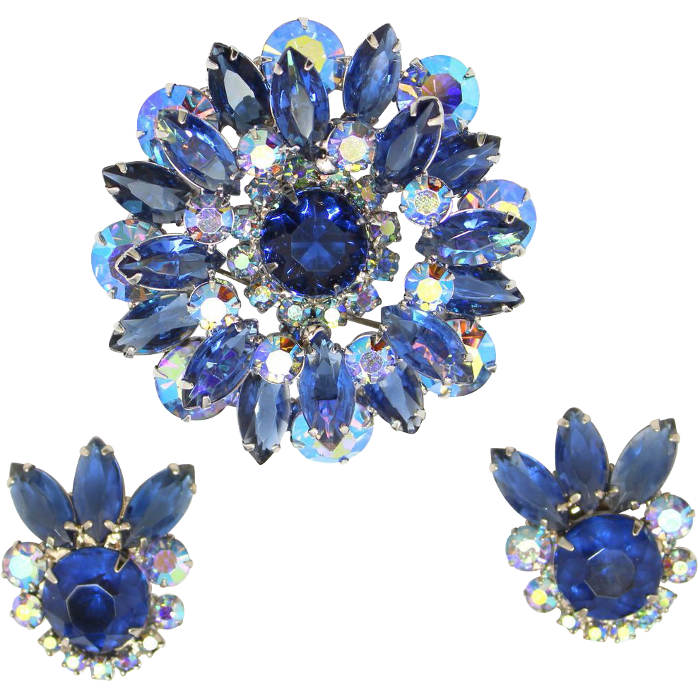 Vintage Juliana (D and E) Blue and AB Rhinestone Brooch and Earrings Demi Parure