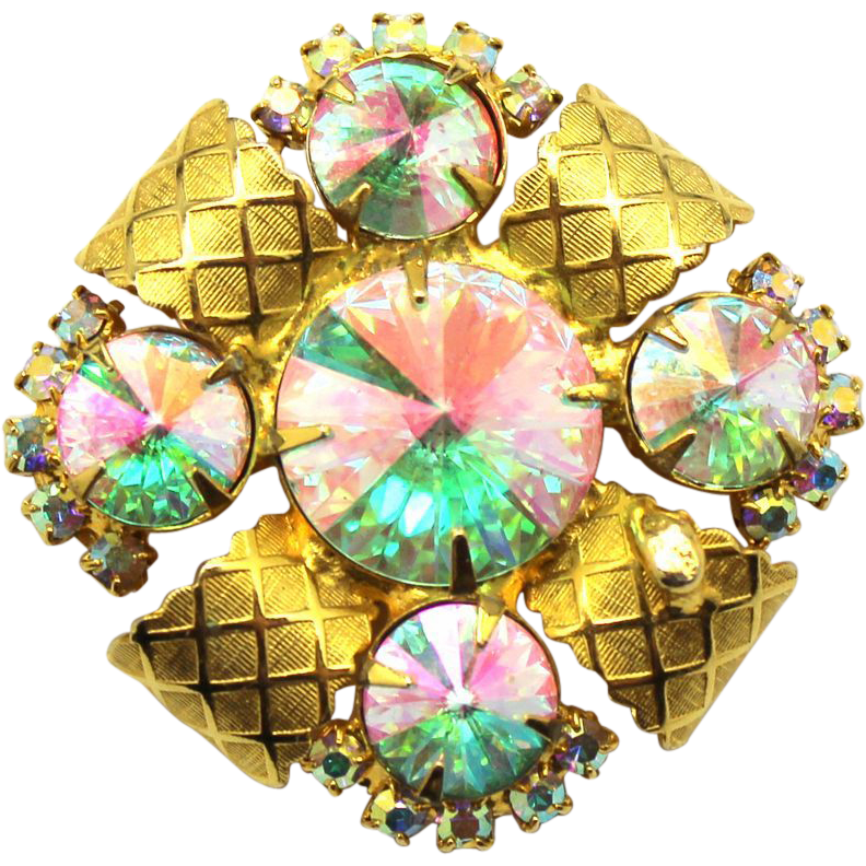 Vintage Juliana (D&E) AB Rivoli Rhinestone Lattice Bale Brooch