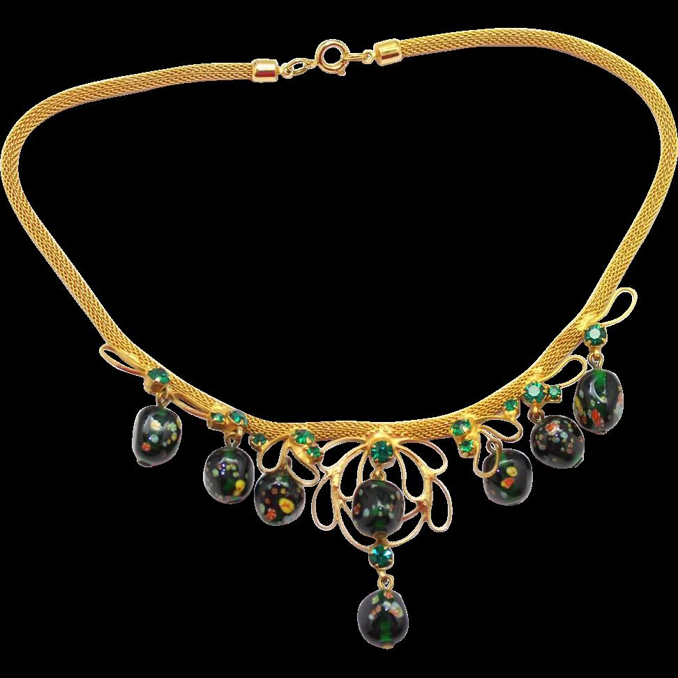Vintage Juliana Millefiori Bead, Green Rhinestone Mesh Necklace