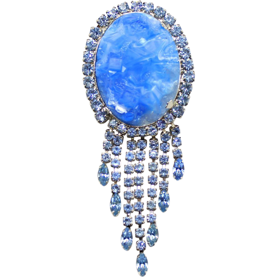 Vintage Juliana (D&E) Blue Geode Rhinestone Dangle Brooch