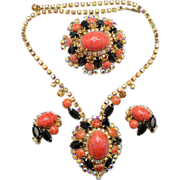 Vintage Juliana (D and E) Book Piece Coral Matrix Cabochon, Black, Topaz and AB Rhinestone Necklace, Brooch and Earrings Parure
