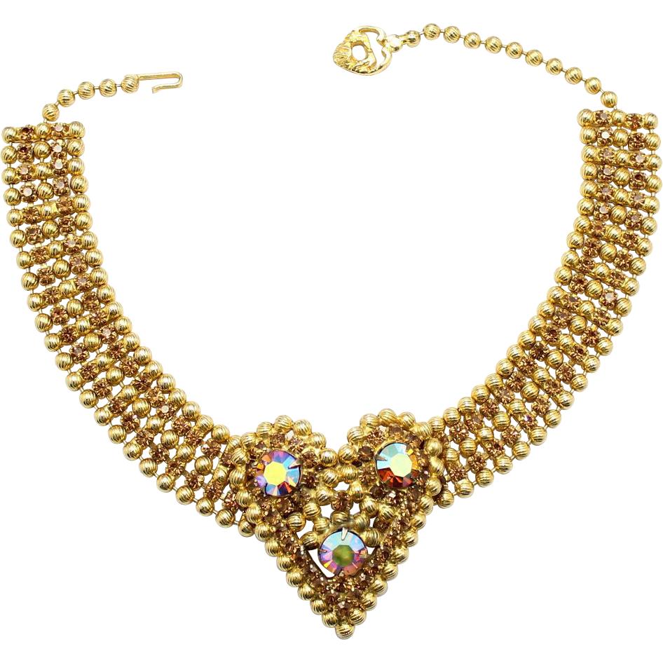 Vintage Juliana (D&E) NEW FIND Heart Ball Chain & Topaz Rhinestone Dog Collar Necklace