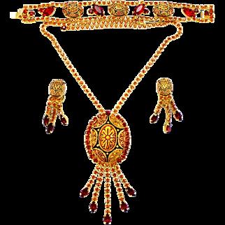 Vintage Juliana (D&E) Book Piece Topaz & Garnet Red Mosaic Cabochon & Rhinestone Parure
