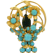 Vintage Juliana (D&E) Book Piece Turquoise Rhinestone Flower Basket Brooch