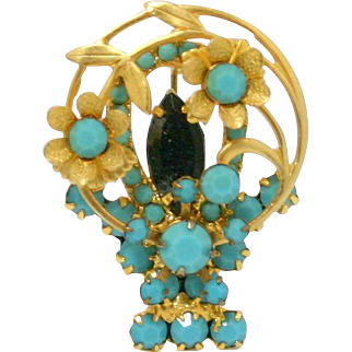 Vintage Juliana (D&E) Book Piece Turquoise Rhinestone Flower Basket Brooch