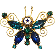 Vintage Juliana Book Piece American Legion Blue Aqua Green Rhinestone Butterfly Brooch