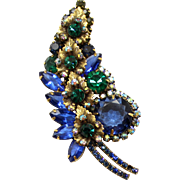 Vintage Juliana (D&E) Blue, Green Rhinestone & Metal Leaf Brooch