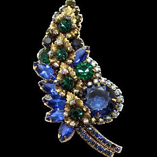 Vintage Juliana (D&E) Blue, Green Rhinestone & Metal Leaf Brooch