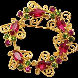 Vintage Fuchsia Pink & Peridot Green Rhinestone & S Scroll Circle Wreath Brooch