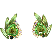 Vintage Juliana (D&E) Book Piece Peridot Green Rhinestone Heart Shaped Earrings