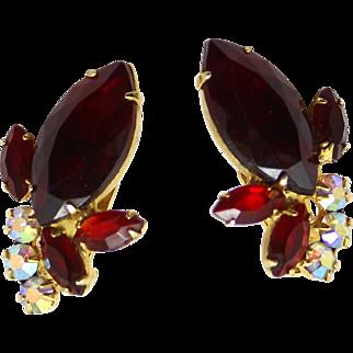 Vintage Juliana (D&E) Red & AB Rhinestone Earrings