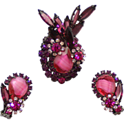Vintage Juliana (D and E) Book Piece Fuchsia Pink Givre, Amethyst Rhinestone Brooch and Earrings Demi Parure