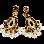 Vintage Juliana Topaz and AB Crystal Bead Chandelier Earrings