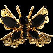 Vintage Juliana Black Rhinestone and Filigree Butterfly Brooch