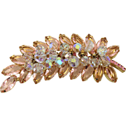 Vintage Juliana (D and E) Book Piece Pink Rhinestone and AB Crystal Bead Brooch