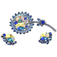 Vintage Juliana (D and E) Book Piece Blue Rhinestone and AB Rivoli Flower Brooch and Earrings Demi Parure